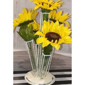 UNIQUE Metal + Glass Tube Flower Display